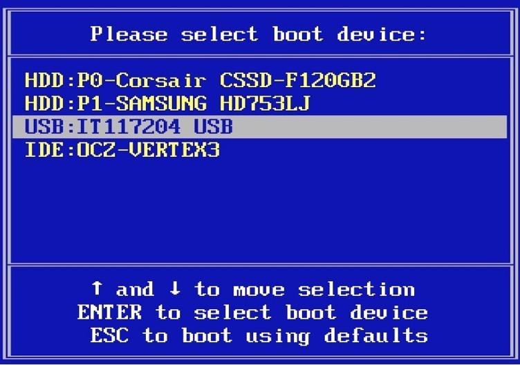 Список устройств, доступных в Boot-меню