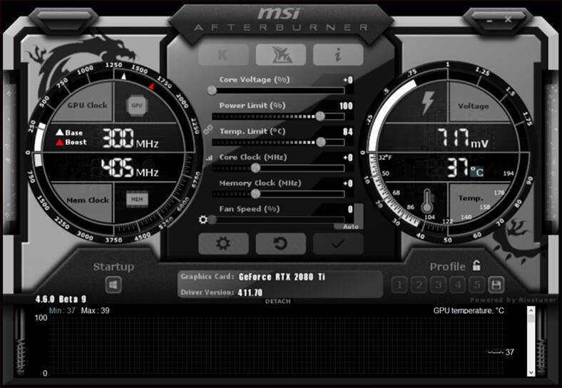 Интерфейс программы MSI Afterburn