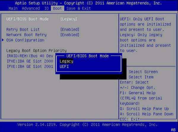 Изменение режима загрузки Boot Mode в BIOS