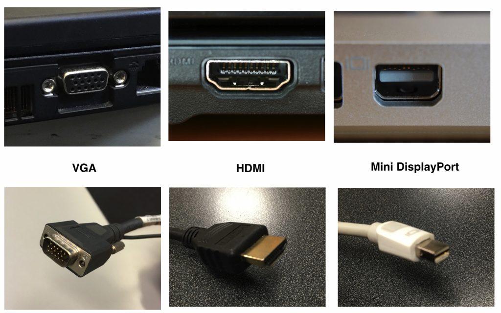 Разъёмы и штекеры для подключения ноутбука к внешнему монитору