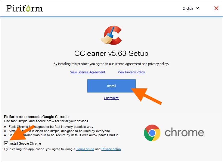 Главное окно установщика CCleaner