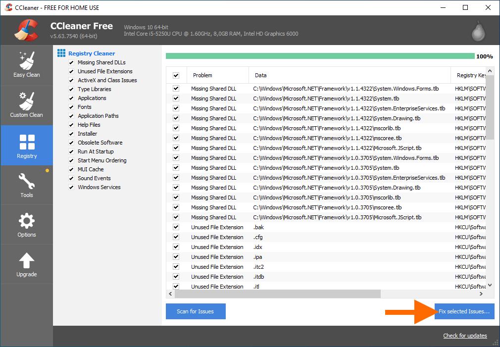 Список найденных ошибок в реестре Windows