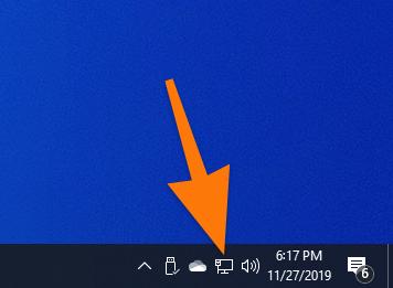 Значок подключения к сети в Windows 10