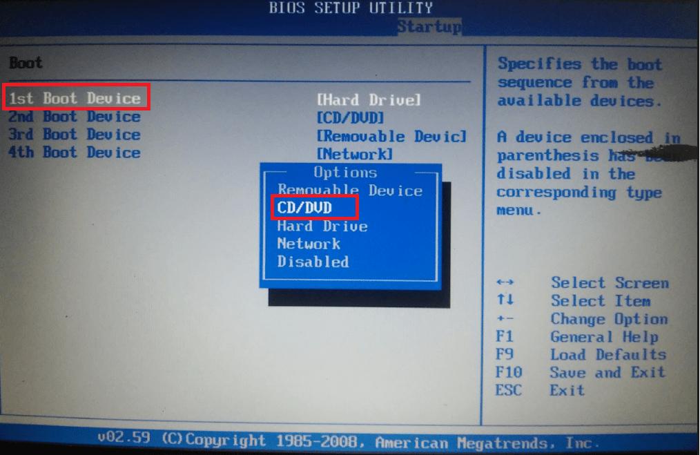 Изменение приоритета загрузки в BIOS