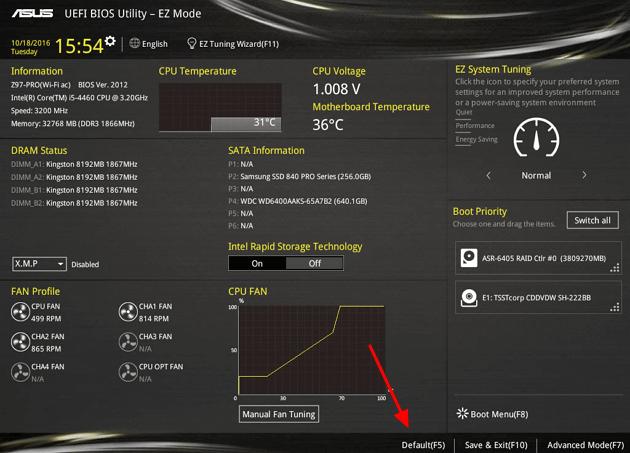 Сброс UEFI BIOS