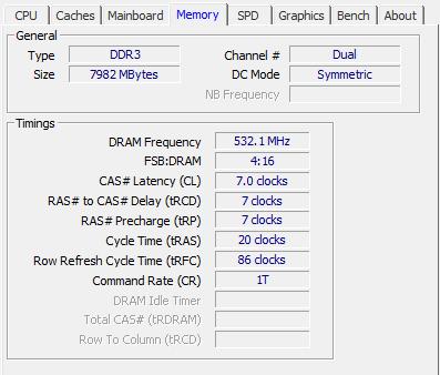 """CPU-Z - Вкладка """"Память"""""""