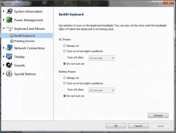 Как включить подсветку на ноутбуке Sony