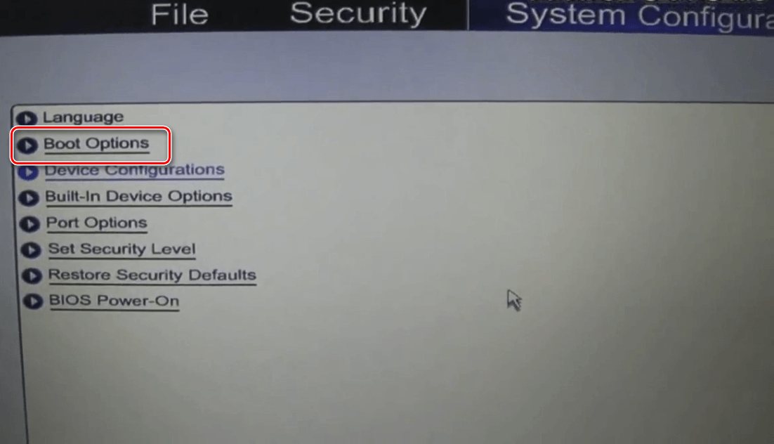 Boot Options на Hewlett-Packard.