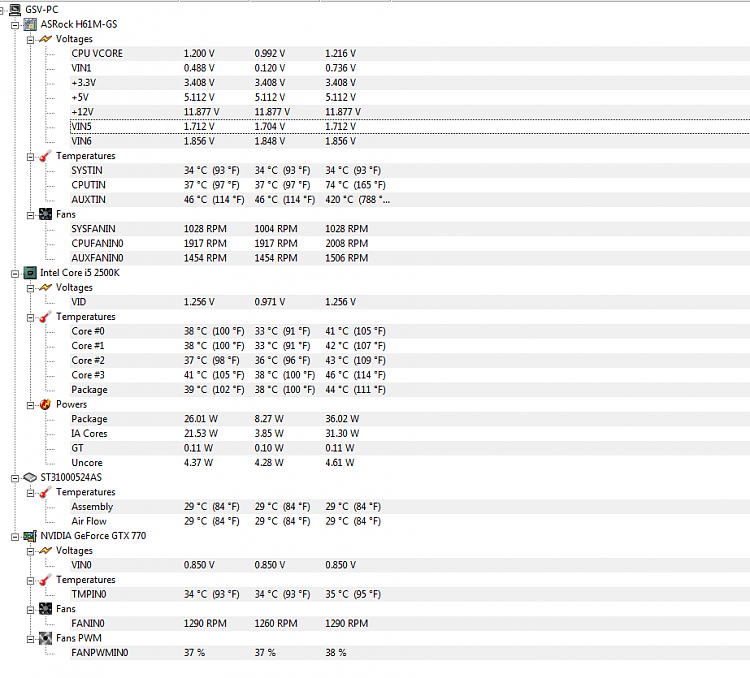 Информация о ноутбуке в HWMonitor