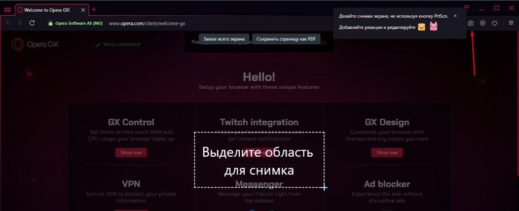 Скриншот в Opera GX