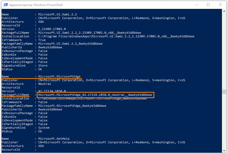 Сведения о браузере Microsoft Edge в окне «Windows PowerShell»