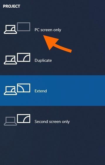 Меню выбора режима работы со вторым экраном