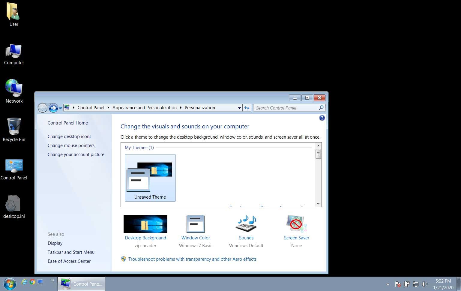 Фон рабочего стола Windows 7 стал черным