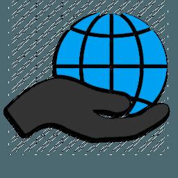 Иконка сервисы рука глобус