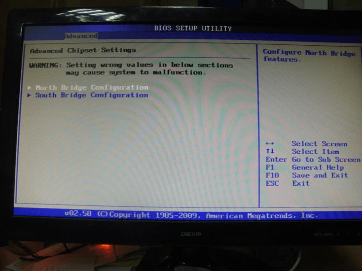 Настройки чипсета в BIOS