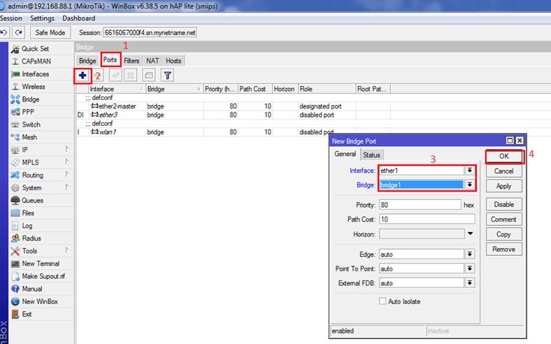 Изменение параметров виртуального порта в роутере Mikrotik