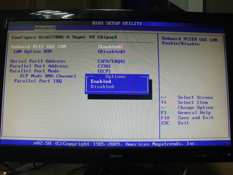 Изменение параметров сетевых компонентов в BIOS