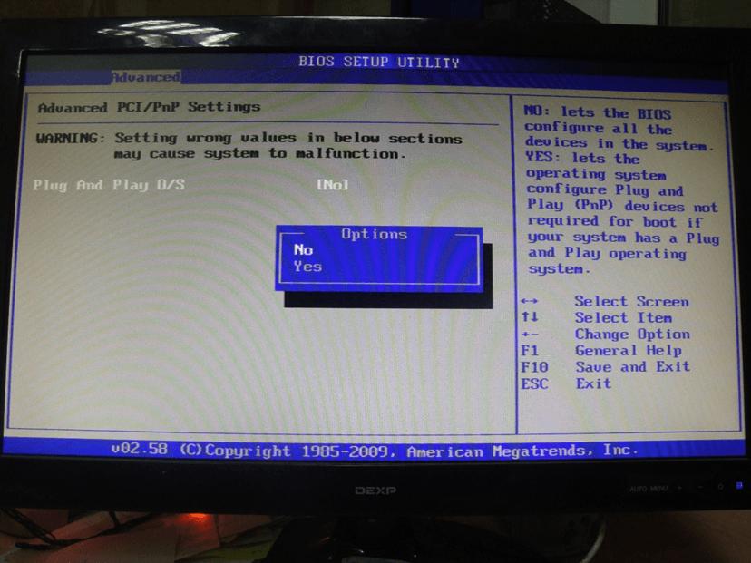 Изменение параметров Plug And Play в BIOS