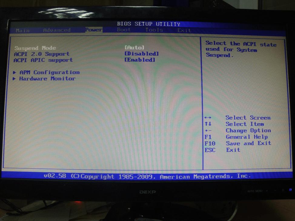 Отображение раздела Power в BIOS