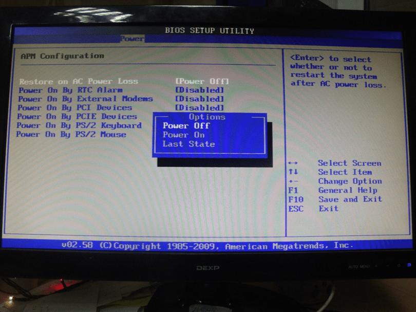 Параметры питания в BIOS