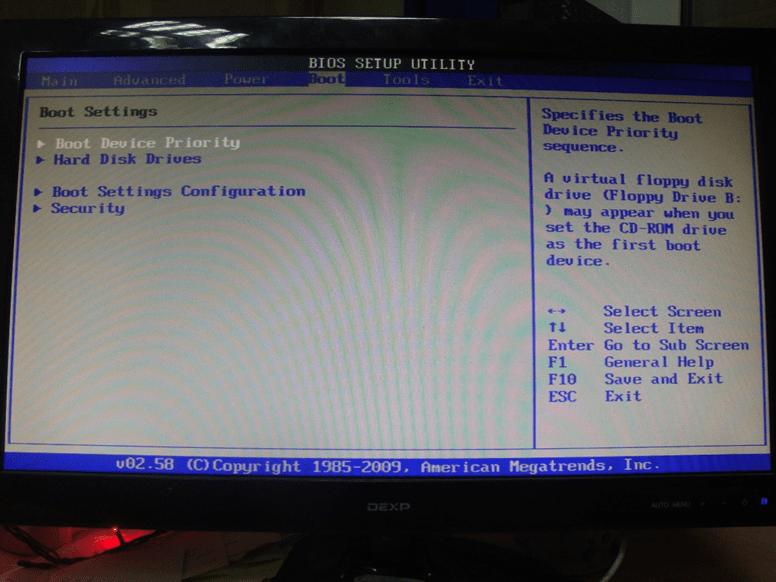 Раздел Boot в BIOS, его внешний вид