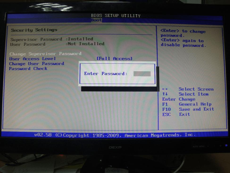 Изменение, редактирование и установка пароля пользователя в BIOS