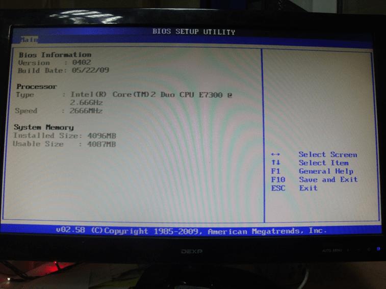 Раздел с основной информацией в BIOS