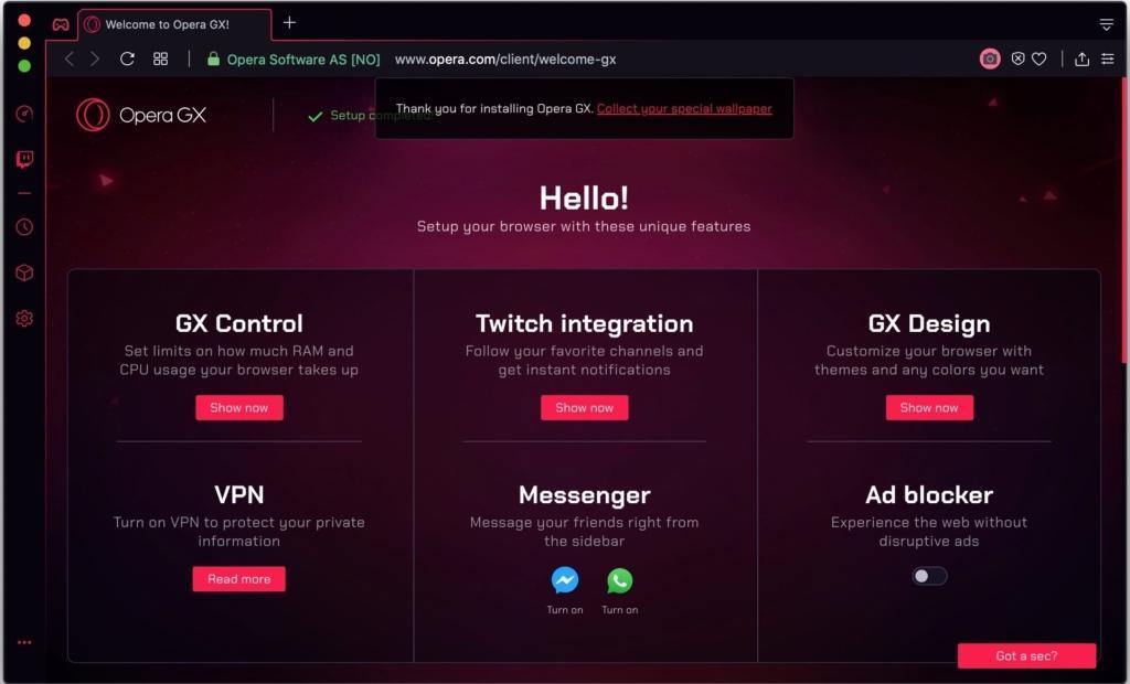 Как перевести страницу в Opera GX