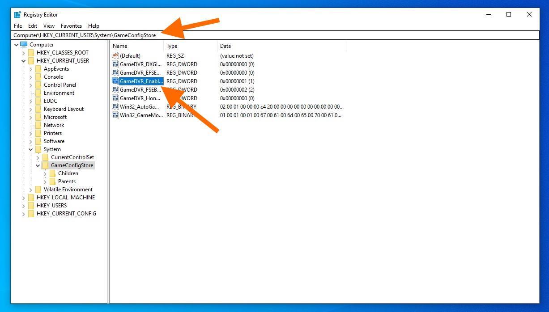 Настройки игр в реестре Windows 10