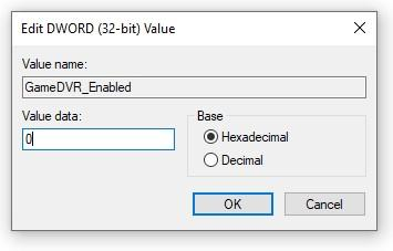 Настройки ключа GameDVR_Enabled в реестре Windows 10
