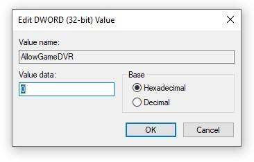 Настройки ключа AllowGameDVR в реестре