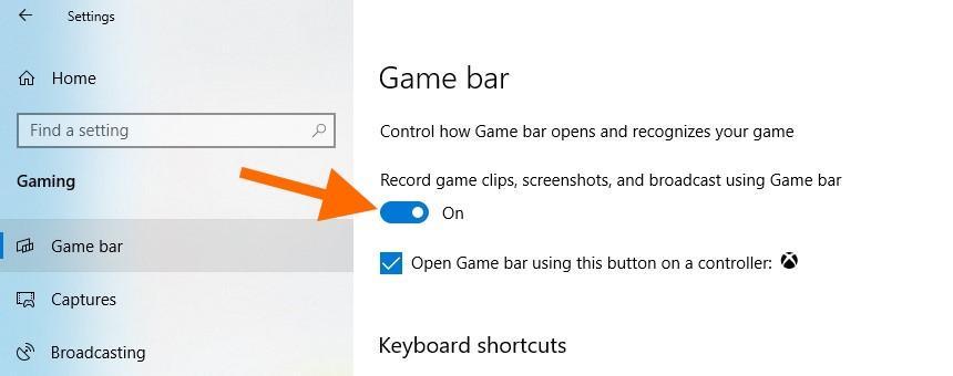 Настройки игр в Windows 10