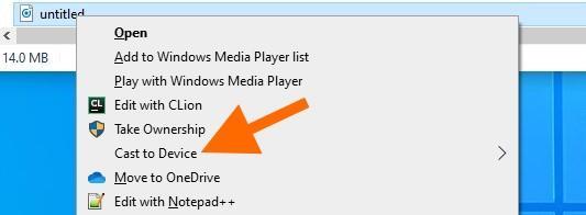 Контекстное меню управления медиафайлами в Windows 10