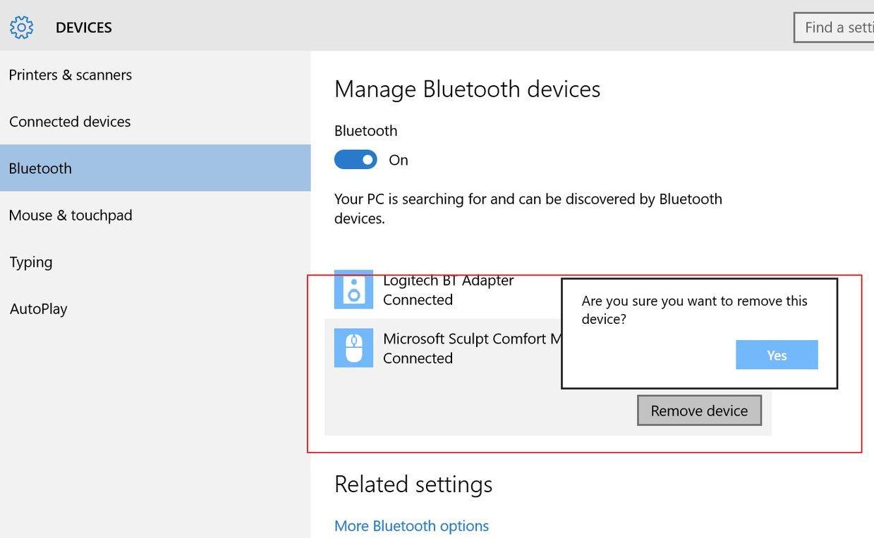Опции Bluetooth-модуля