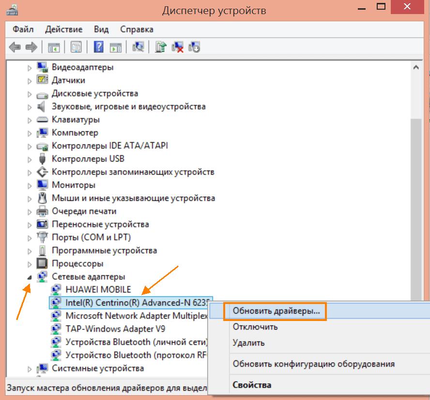 Сетевые адаптеры в окне «Диспетчер устройств» в Windows 10
