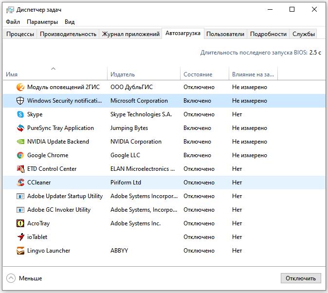 Настройка автозагрузки на Windows 10