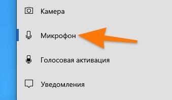 Боковая панель в настройках конфиденциальности