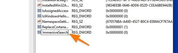 Ключи в папке Search