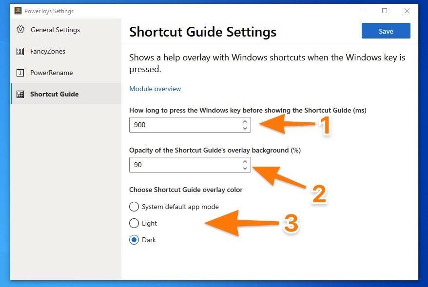 Настройки Shortcut Guide