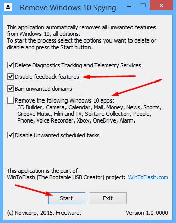Как удалять системные программы в Remove Windows 10 Spying