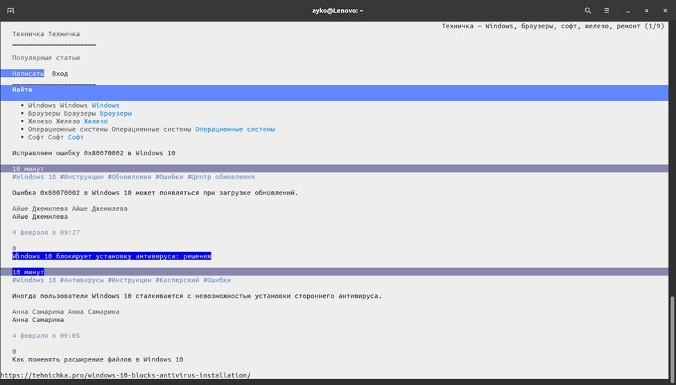 Внешний вид текстового браузера Elinks на странице tehnichka.pro