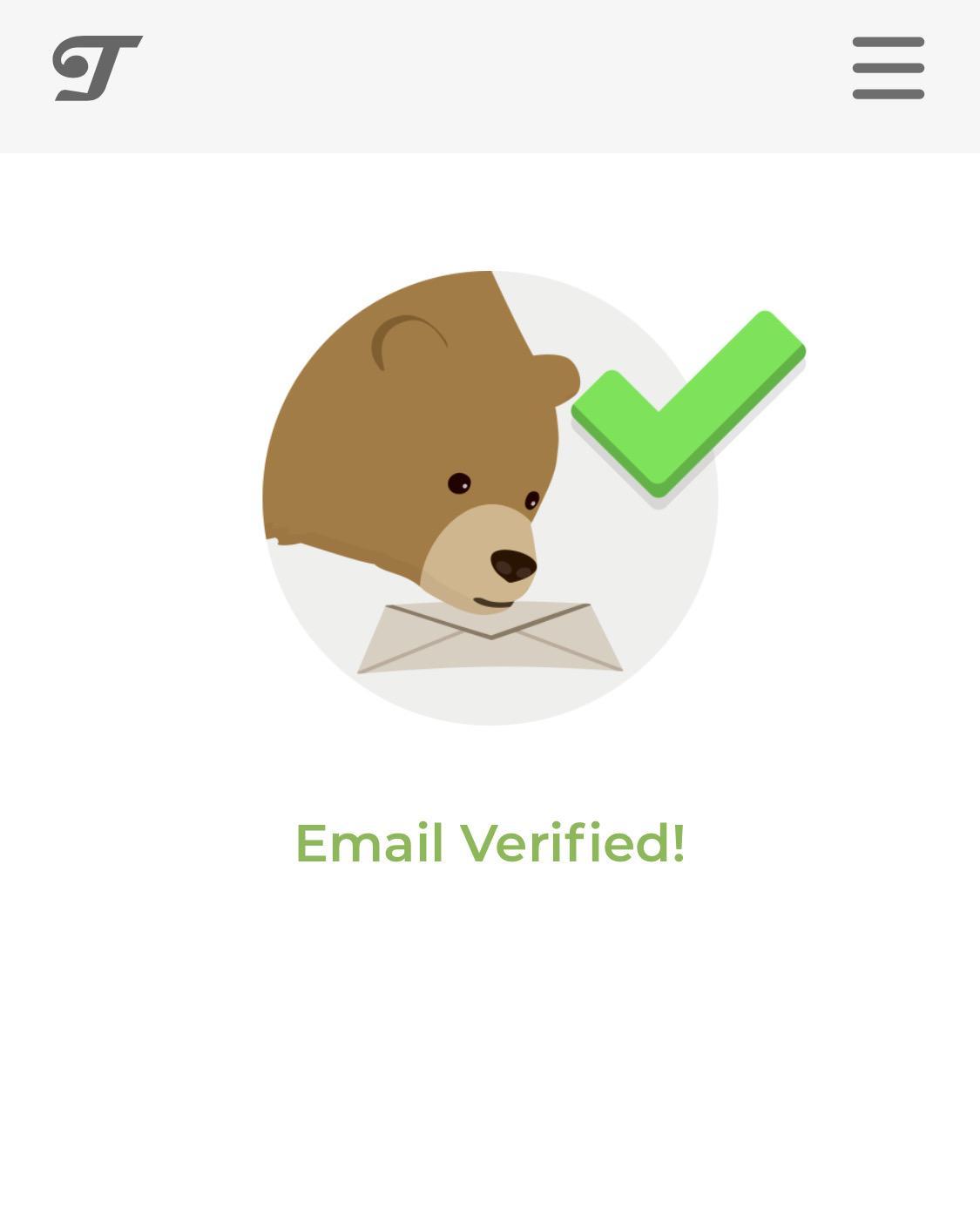 Сообщение об успешной регистрации