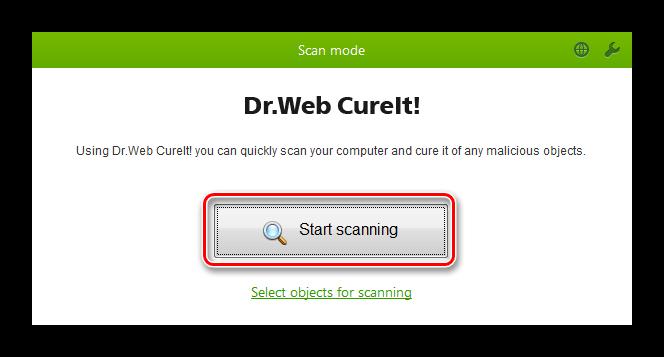 Интерфейс Dr Web СureIt