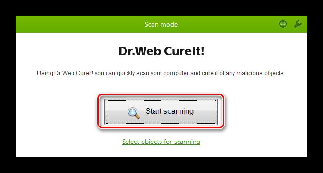 Кнопка сканирования Dr Web СureIt
