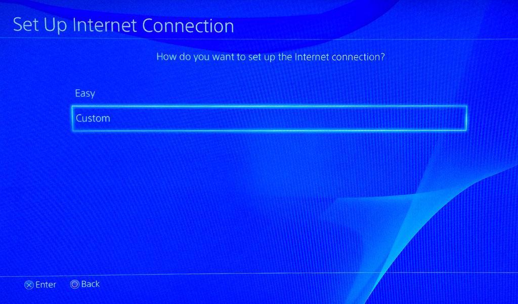 Выбор типа настроек Wi-Fi на приставке PlayStation