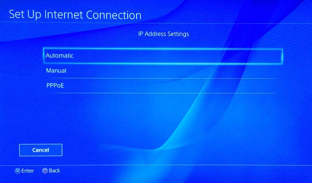 Настройки IP-адреса в настройках PlayStation