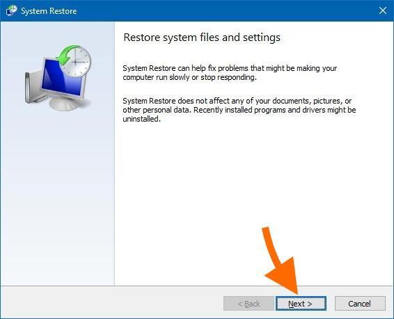 Стартовый экран восстановления резервной копии Windows