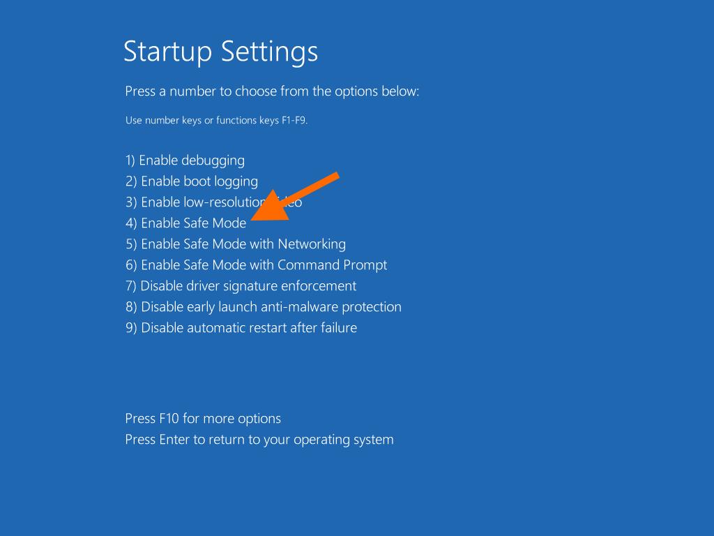 Экран выбора режим загрузки операционной системы