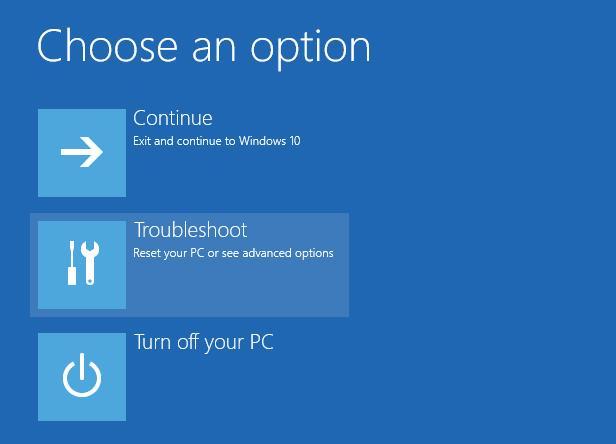 Приветственный экран режима восстановления Windows 10
