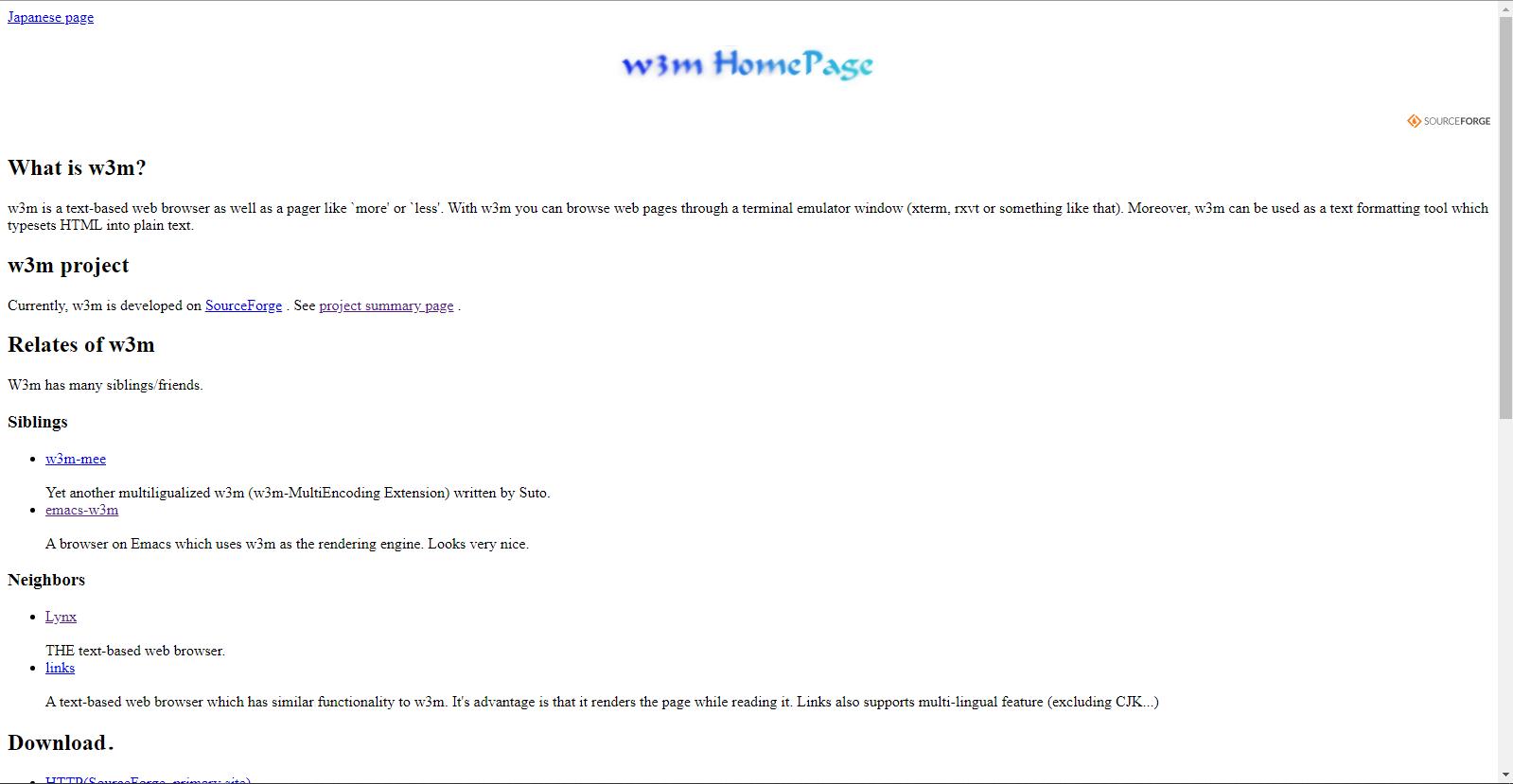Официальная страница консольного браузера w3m